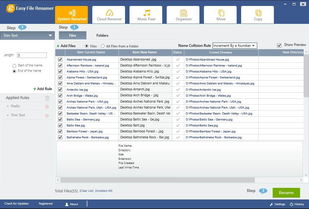 Easy File Renamer Screenshot