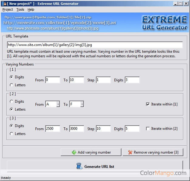 Extreme URL Generator Screenshot