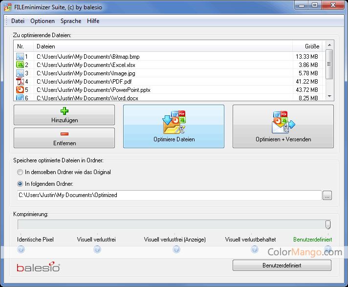 FILEminimizer Suite Screenshot