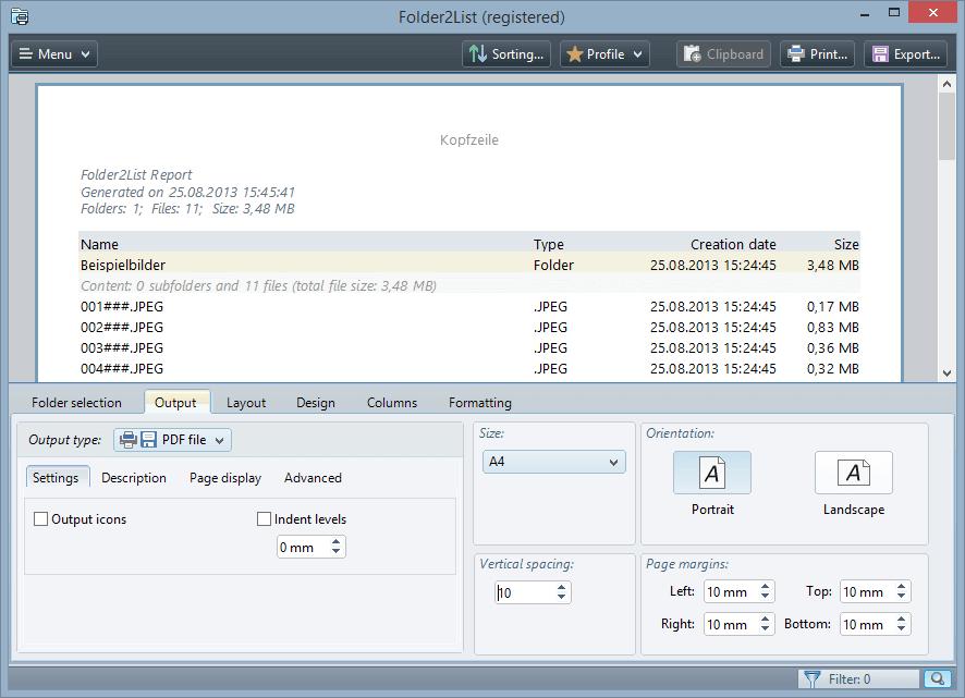 Folder2List Screenshot