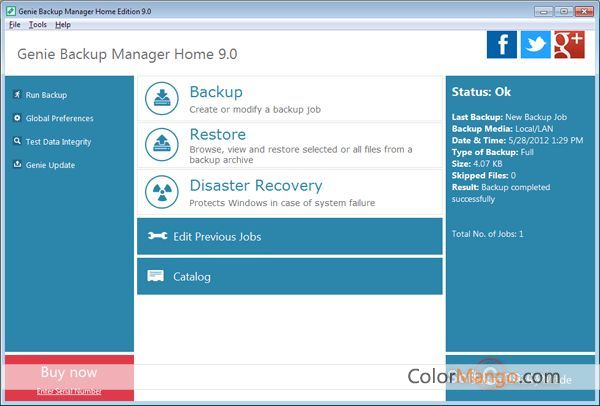 Genie Backup Manager Home Screenshot