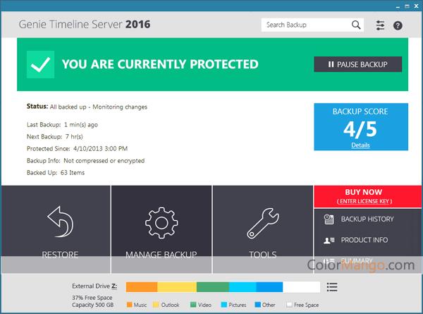 Genie Timeline Server Screenshot