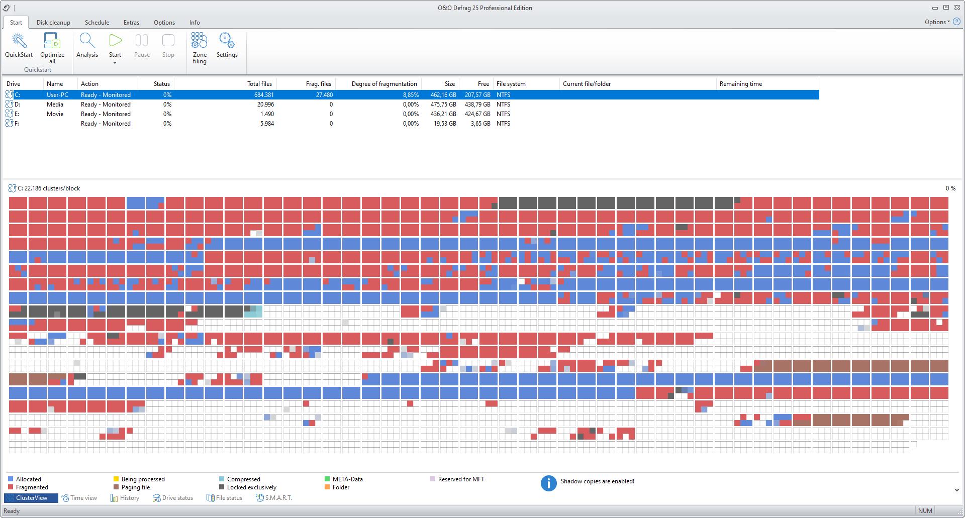 O&O Defrag Screenshot