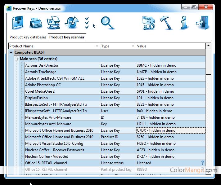 Recover Keys Screenshot