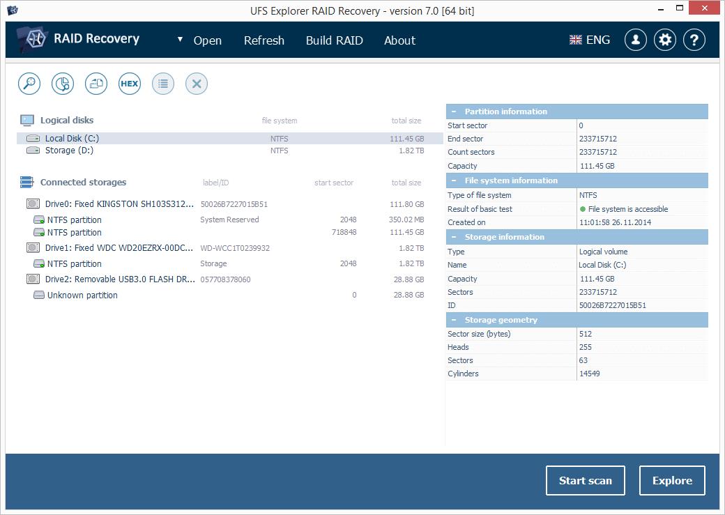 Recovery Explorer Standard Screenshot