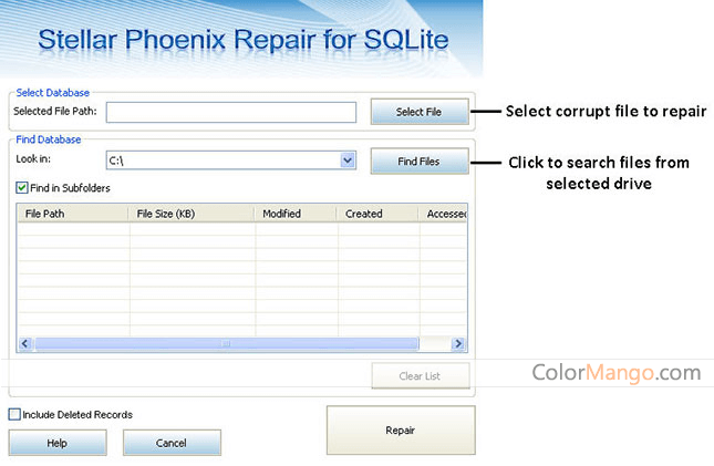 Stellar Repair for SQLite Screenshot