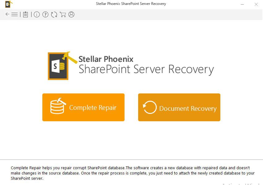 Stellar Repair for SharePoint Screenshot