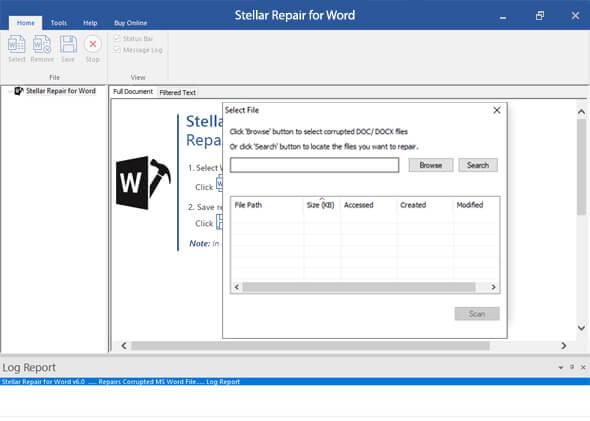 Stellar Repair for Word Screenshot