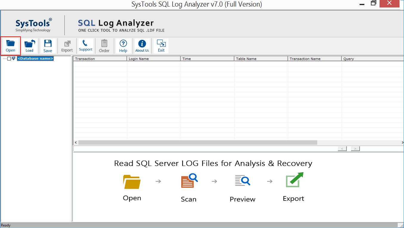 SysTools SQL Log Analyzer Screenshot