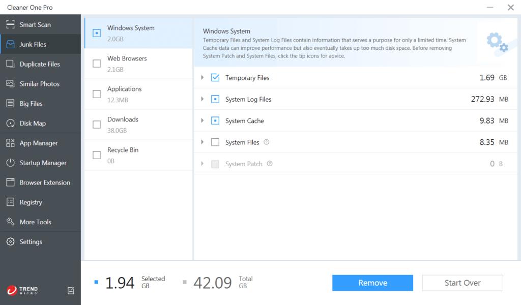Trend Micro Cleaner One Screenshot