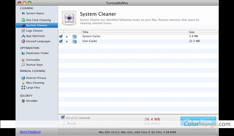 TuneupMyMac Screenshot