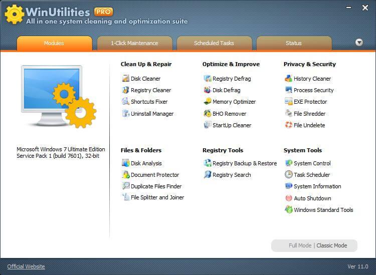 WinUtilities Pro Screenshot